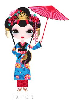 Japan Travel Doll ~ by Veronica Alvarez Cultures Du Monde, World Cultures, Arno Stern, Kawai Japan, Costumes Around The World, World Thinking Day, Kokeshi Dolls, We Are The World, Betty Boop