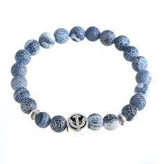 12 pcs  2016 New pulseras hombre Beaded Bracelet Lead-free Alloy Anchor Lava  Weathered Rock on Fire onyx Bracelet  #Affiliate