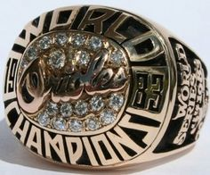 Baltimore Orioles 1983 world series ring. We are over due for another ring. 1983 World Series, World Series Rings, Baltimore Orioles Baseball, Braves Baseball, Baseball Stuff, Yankees World Series, Metal Baseball Cleats, Championship Rings, Magic Johnson