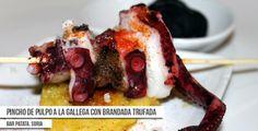 #Receta  de Pincho de pulpo a la gallega con brandada trufada. Porpuesta de Bar Patata, en Soria. #Trufa #TrufaNegra