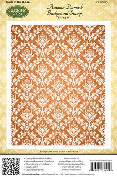 JustRite Papercraft September Release - Autumn Damask Background Stamp