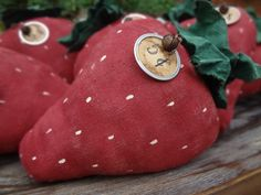 Primitive Strawberry Bowl Filler by TheQuiltedPumpkin on Etsy