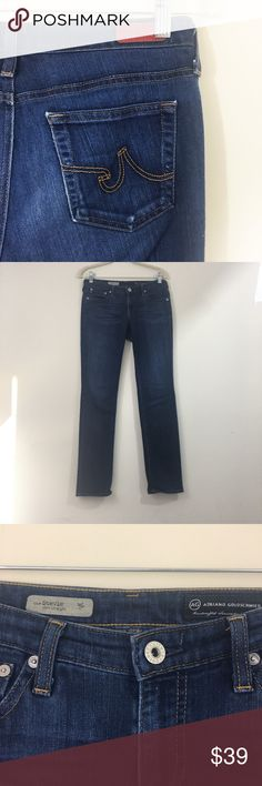 AG Adriano Goldschmied Stevie Jeans These jeans have a 30 inch inseam. They are made of 30% cotton 45% rayon and 25% polyester. They have great stretch. AG Adriano Goldschmied Jeans Straight Leg