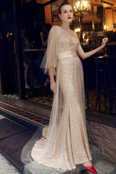 Noble One-shoulder Empire Mermaid Court Train Evening Dress Evening Dresses 2014