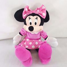 Minnie Mouse Disney Plush Stuffed Animal Pink White Outfit Bow 18 inches tall #Disney