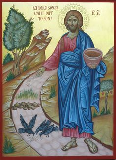 Icon Christ the sower of seeds, hand painted, bible paintings, orthodox iconography, religious icon Images Of Christ, Religious Images, Religious Icons, Religious Art, Byzantine Icons, Byzantine Art, Paint Icon, Russian Icons, Christian Religions