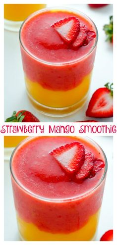 Strawberry Mango Smoothie - Baker by NatureYou can find Smoothie recipes and more on our website.Strawberry Mango Smoothie - Baker by Nature Mango Smoothies, Strawberry Mango Smoothie, Yummy Smoothies, Smoothie Drinks, Strawberry Recipes, Yummy Drinks, Mango Smoothie Recipes, Melon Smoothie, Protein Smoothies