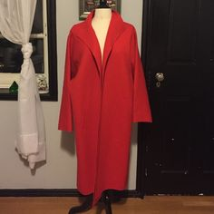 Vintage Red Wool Coat Vintage Jean Louis Couture red wool cocoon coat. Shawl collar and dolman sleeves. Pockets. Unlined. Good vintage condition. Some light brown spots (pictured) and minor moth damage but looks great in person. Highly wearable. One size. Jean Louis Couture Jackets & Coats