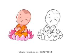Little cartoon monk on the lotus. Page for coloring book. Vector illustration isolated on a white background. Buddha Drawing, Mandala Drawing, Mandala Painting, Fabric Painting, Buddha Tattoo Design, Baby Buddha, Little Buddha, Buddha Kunst, Buddha Art