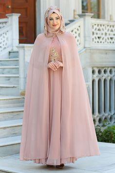 TESETTÜRLÜ ABİYE ELBİSELER - Tesettürlü Abiye Elbise - Pul Payet Detaylı Pudra Tesettür Abiye Elbise 7647PD
