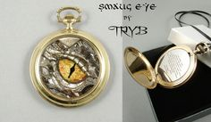 Smaug eye is sculptured with watch parts (ca. 400 elements) The Iris of an eye I painted with enamels. The pupil of the eye is made of watch-hand.  Unique piece of clockwork art. I will not make a copy. Quotation from Hobbit book had been engraved inside. Setting of this medallion is made of an antique brass watch case.