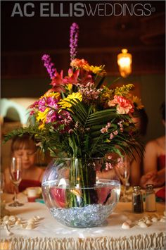fishbowl wedding centerpieces I like the jewels on the bottom, colored gems would be nice