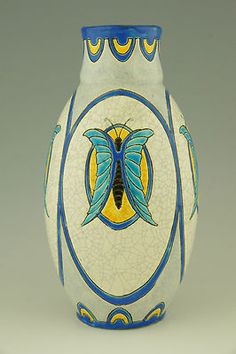 Charles Catteau 1923 Art Deco Ceramic Butterfly Vase