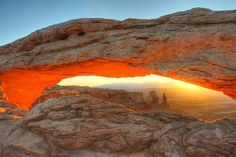 Sunrise glow at Mesa Arch, Island in the Sky, Canyonlands National Park, Utah copy Gale Rainwater