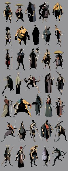 Samurai Concepts and other Characters---------------------------by   Eduard Visan ----------------------------------------- The samurais are concepts for a comics project. The first characters are made in photoshop and the last two in artrage. via conceptart.org-----------------------------------------