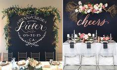 1. czarna tablica tablica kredowa sciana za stolem pary młodej państwa mlodych weddings factory