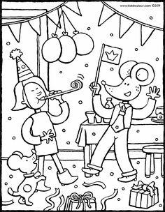 Geburtstagsfeier mit Emma und Leon - Ausmalbilder - Malvorlagen - Zeichnungen Birthday Coloring Pages, Colouring Pages, Bunt, Snoopy, Math, Fictional Characters, Coloring Pages, Birthday Celebrations, Drawing S
