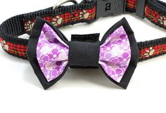 Medium Size Black and Purple Flower Dog Bow Tie. Flower Dog, Black Bow Tie, Looking Dapper, Dog Bows, Bow Ties, Purple Flowers, Boutique, Cat, Trending Outfits
