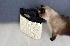 Cream white/black handbag  Crochet bag  knitted by CatInTheBasket