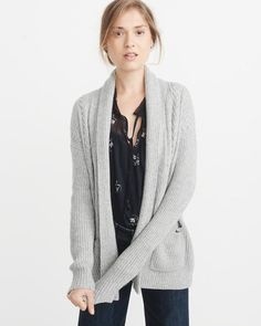 5e317ccda24 A pretty gray sweater to go with any outfit. Shawl Collar Cardigan