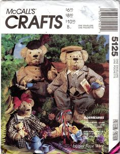 Elderbearies, Stuffed Teddy Bear & Clothes Pattern - 19 and 15 Inches Tall - McCall's Crafts 5125 uncut