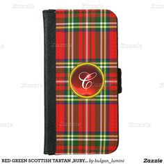 RED GREEN SCOTTISH TARTAN ,RUBY GEM STONE MONOGRAM iPhone 6 WALLET CASE