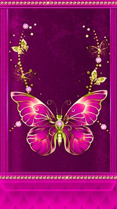 By Artist Unknown. Dragonfly Wallpaper, Blue Butterfly Wallpaper, Butterfly Background, Flowery Wallpaper, Butterfly Flowers, Beautiful Butterflies, Pink Wallpaper For Girl, Bling Wallpaper, Heart Wallpaper
