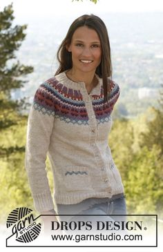 """I need this i think. Knitted DROPS jacket with round yoke, pockets and Norwegian pattern in """"Alpaca"""". Size XS – XXXL ~ DROPS Design"""