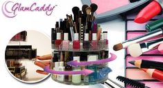 Cosmetic Organizer - Glam Caddy holds up to 200 items with a slide out compartment for your favorite items. Shop Now Here >> http://ealpha.com/home-utility/cosmetic-organizer/8554