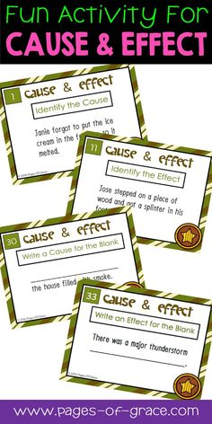 Are you looking for fun ideas and activities for teaching cause and effect? This activity is a great way to get kids moving and practice cause & effect skills. It is a set of 40 task cards, with 4 different types-identify the cause, identify the effect, write a possible cause, & write a possible effect. Literacy centers, game, or independent practice in the classroom & homeschool. Great for 4th grade, 5th grade, & 6th grade. Students have a blast learning cause & effect with these!