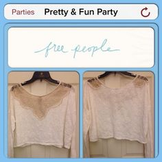 HP X 2  1/17, 4/11 Free People Crop Top ⛔️REDUCED ⛔️ Was $40. Now $20.  Beige. Body 79% cotton, 21% polyester; Lace 100% nylon. XS/S. Free People Tops Crop Tops