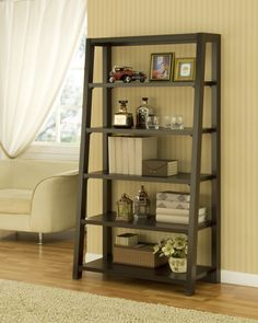 - Furniture of America Coffee Bean Step Bookcase - Add an extra touch of storage and style to your home with a step bookcaseBook shelf is the perfect way to stay organized Chic ladder-style shelf showcases an inventive design sure to complement any decor. Ladder Bookshelf, Etagere Bookcase, Bookshelves, Ladder Display, Modern Bookcase, Leaning Bookshelf, Leaning Shelf, Home Office Furniture, Ideas