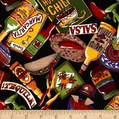 Salsa Picante Condiments Black from @fabricdotcom  Designed for Kaufman Fabrics, this cotton print fabric is perfect for quilting, apparel and home decor accents. Colors include red, green, yellow, blue, tan and black.