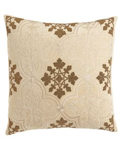 Callisto Home Como Beaded Velvet Pillow, Ivory Bedroom, Natural Cushions, Golden Tan, Cotton Velvet, Velvet Pillows, Decorative Throw Pillows, Duvet Covers, Sewing Projects, Embroidery