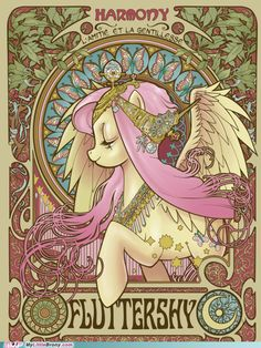 Fluttershy Mucha Style - I really love this character, she's cute <3