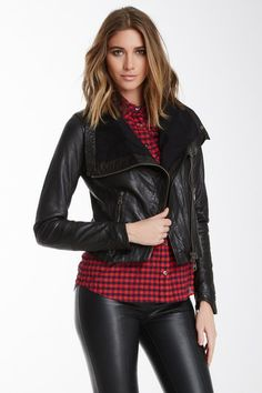 Asymmetrical Leather Moto Jacket by Doma on @HauteLook