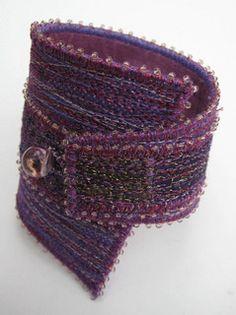 Mauve Satatement Wedge Cuff Bracelet by Tors - textile art, via Flickr