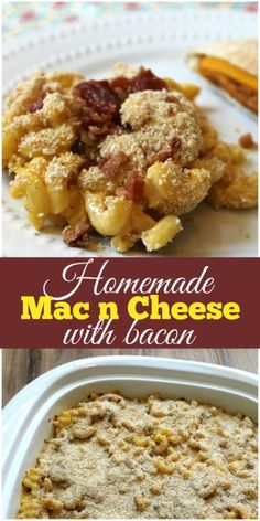 Your family will fall in love with this creamy and delicious Homemade Mac n Cheese recipe, that's made even better by adding bacon! Breakfast Lunch Dinner, Dessert For Dinner, Breakfast Ideas, Bacon Recipes, Cheese Recipes, Mac N Cheese Bacon, Microwave Dinners, Mac And Cheese Homemade, How To Make Cheese