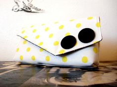 Lemon Polka Dot Large Clutch by dishhandbags on Etsy, $42.00