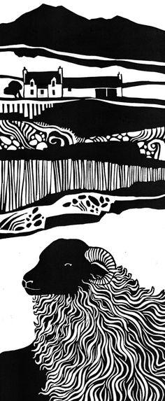 Lino art monochrome print Black Face Ewe by Liz Myhill Lino Art, Woodcut Art, Linocut Prints, Stencil, Linoleum Block Printing, Linoprint, Wood Engraving, Woodblock Print, Paper Cutting