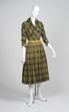 wool plaid dress, by Claire McCardell, ca. 1950