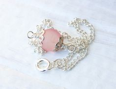 Light Pink Marble Anklet Bridesmaid Jewelry by HopeFilledJewelry