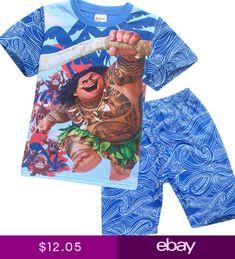 70bb6c35519 Moana Cartoon Maui Printing Summer Kids Boys Girls T-shirt Shorts Outfit  Clothes Pyjamas