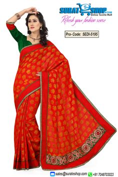 Design And Style And Trend Would Be On The Peak Of Your Beauty As Soon As You Dresses This Red Banarasi Silk, Jacquard Saree. This Gorgeous Attire Is Displaying Some Brilliant Embroidery Done With Lace, Resham, Self Work. Paired With A Contrast Green Art Silk Blouse  Visit : http://surateshop.com/product-details.php?cid=2_26_36&pid=7483&mid=0