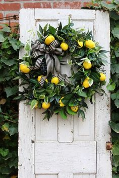 double door wreaths Farmhouse wreath for Front door with Lemons, Spring lemon wreath, Gift for Mom, Year round wreath, C Shabby Chic Kranz, Shabby Chic Wreath, Double Door Wreaths, Front Door Wreaths, Spring Wreaths For Front Door Diy, Lemon Wreath, Year Round Wreath, Front Door Decor, Front Porch