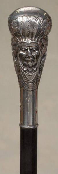 Unger Brothers sterling silver Indian Chief cane handle