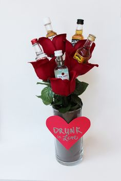 best ideas about Alcohol Bouquet Valentines Day Baskets, Valentines Day Gifts For Him, Valentine Day Crafts, Printable Valentine, Homemade Valentines, Valentine Box, Valentine Ideas, Alcohol Gift Baskets, Valentine's Day Gift Baskets