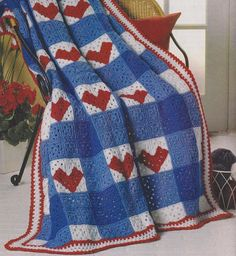 Gingham Hearts Afghan Crochet Pattern - Valentine's Day