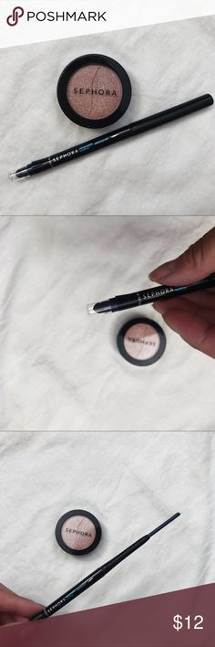 Sephora Eye Bundle Blue Liner + Shimmer Shadow • brand: sephora  • condition: new eyeshadow, eye liner has been swatched but is brand new  • size: full size  • description: set of 2 sephora eye products. Blue eyeliner with smudger end. Shimmery shadow in girl talk.    • trying to downsize my closet. bundle to save 💰 no trades or holds. happy shopping! Sephora Makeup Eyeshadow