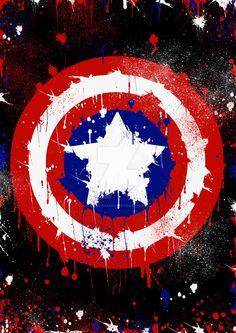 the shield of captain america in splatter version